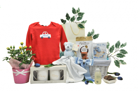 Blooming Parents and Baby Boy Gift Basket