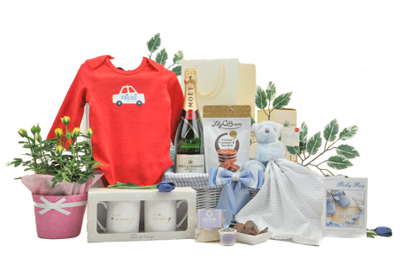 Flowers and Champagne Baby Boy Hamper