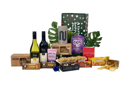Winter Gold Gift Box with Wine