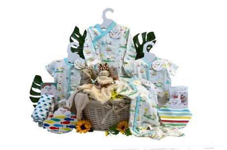 Twin Delight Neutral Baby Basket